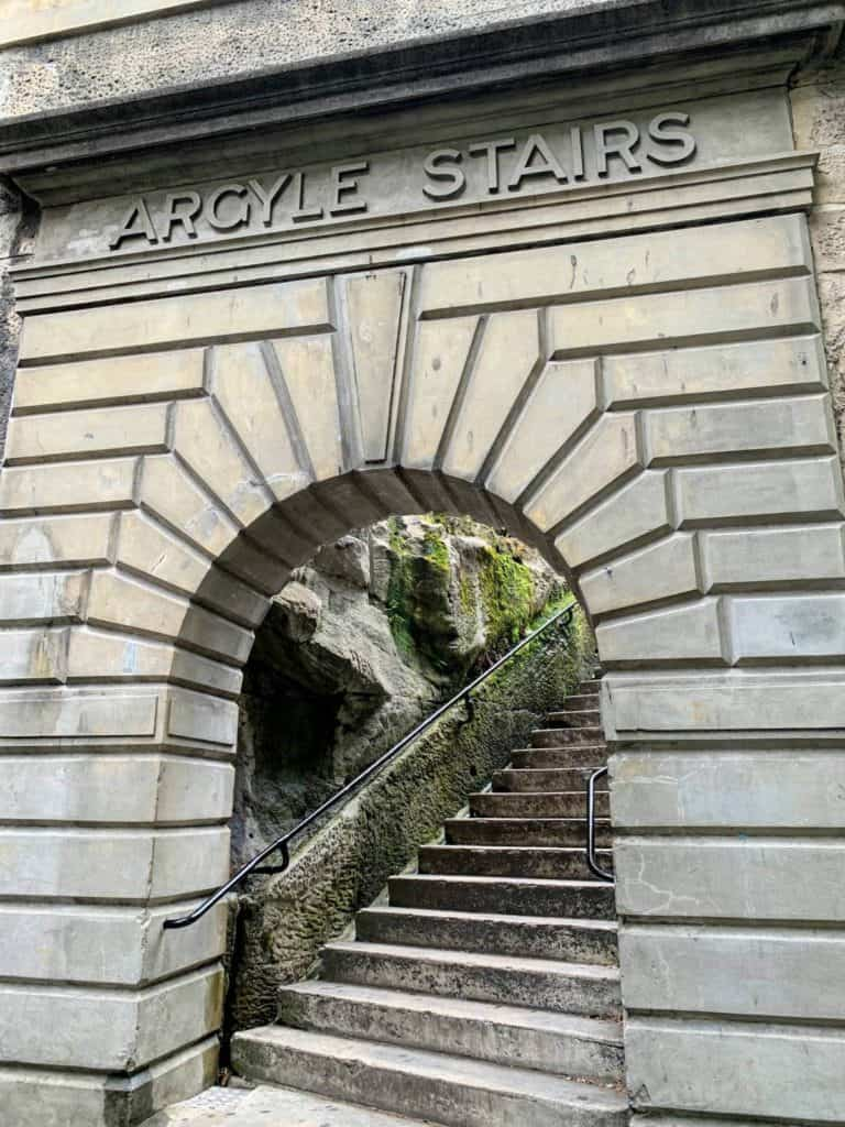 an arch with words argyle stairs with stairs leading up