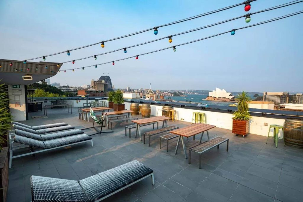 rooftop garden with views of sydney opera house