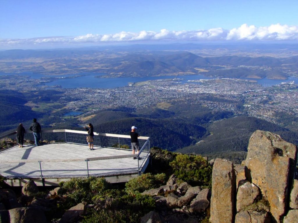 view from a mountain lookout one of the hobart cruise excursions
