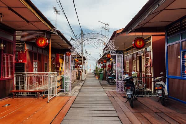 beautiful chinese clan wooden jetty on stilts