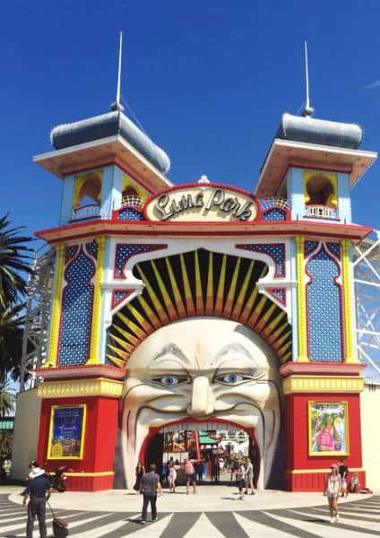 amusement park entrance witha large face and open mouth