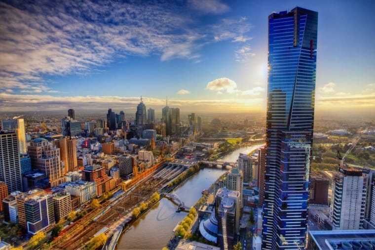 view from above of melbourne city buildings and river
