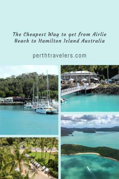 4 photos of an island with title the cheapest way to get from airlie beach to hamilton island australia