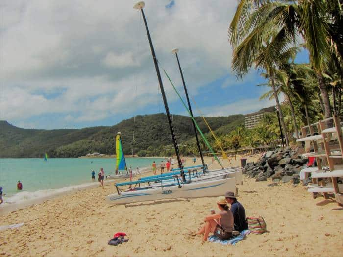 sandy beach with lots of watersports and beach activities