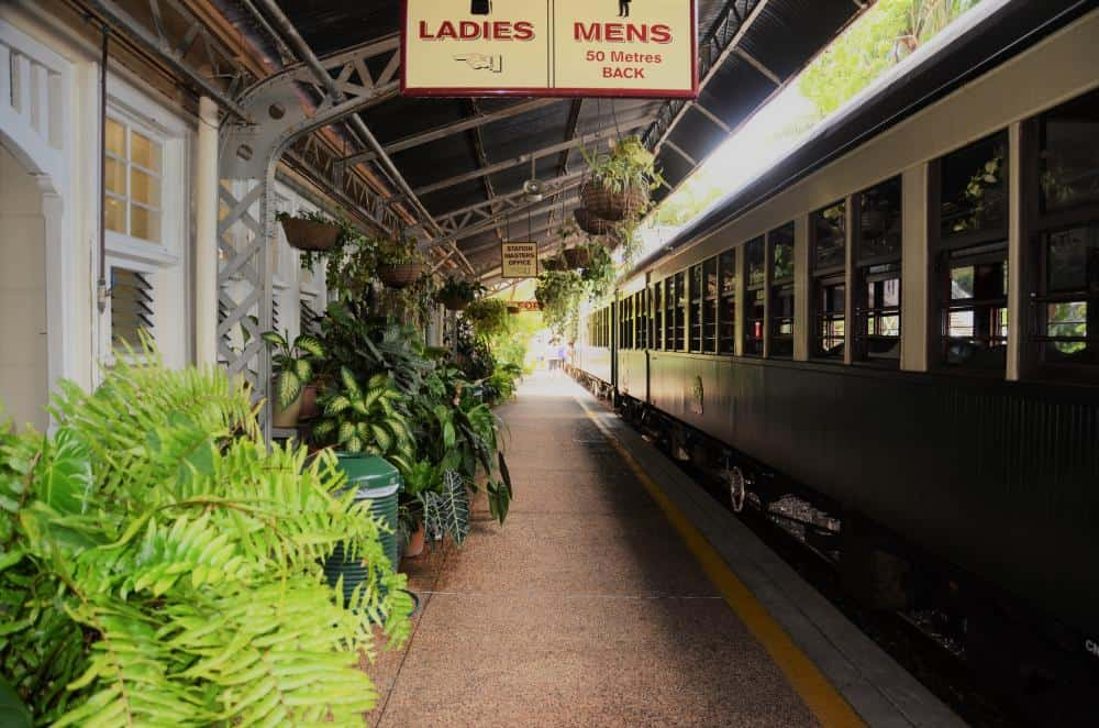 vintage train in a beautiful tropical station