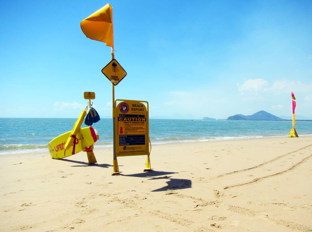 sand beach with ocean and surf lifesaving surfboard flag and sign