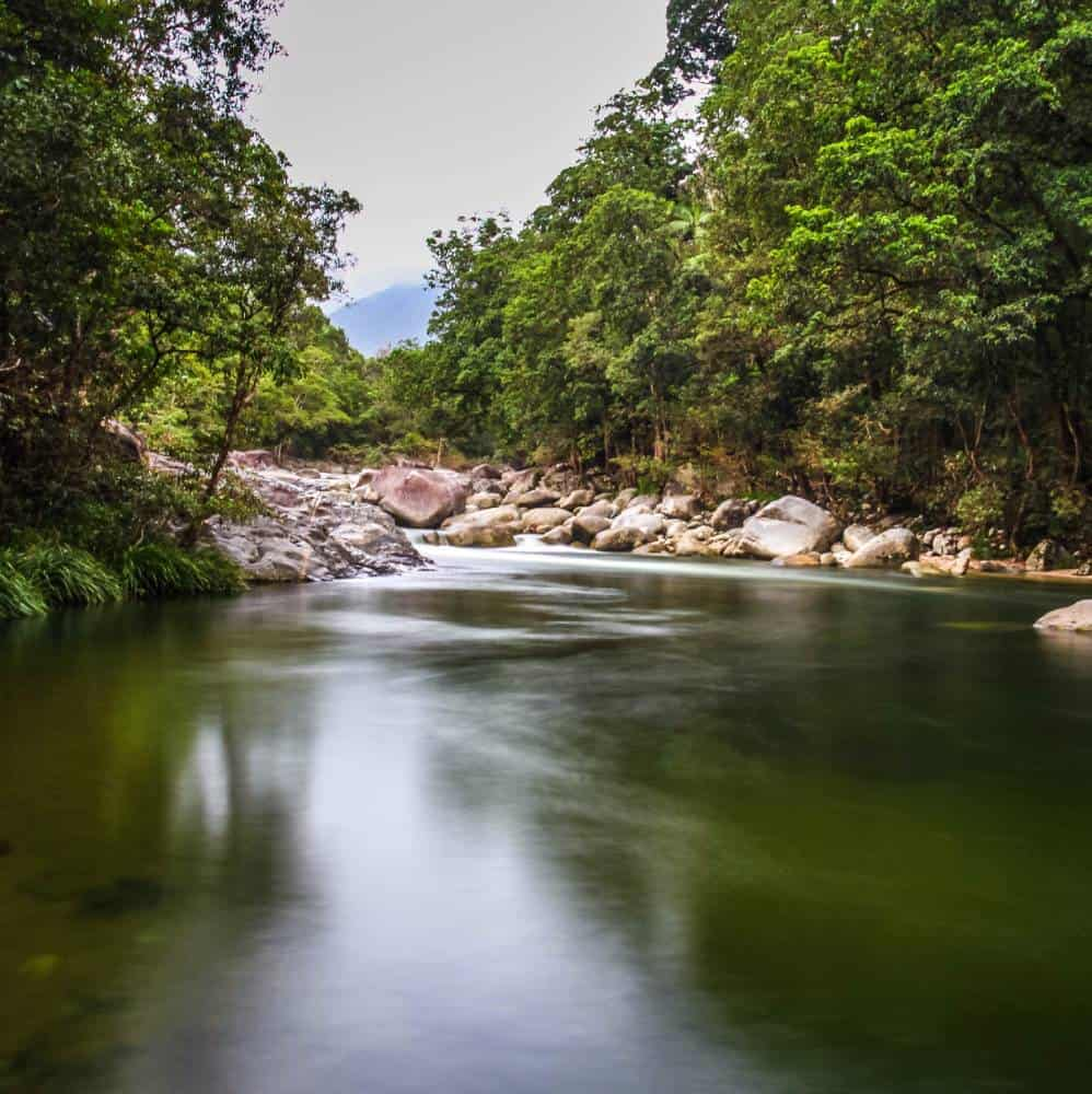 a gorge with granite boulders and rainforest