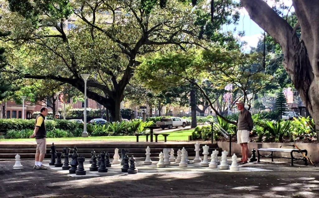 two retirees playing chess in a city park in the shade of trees