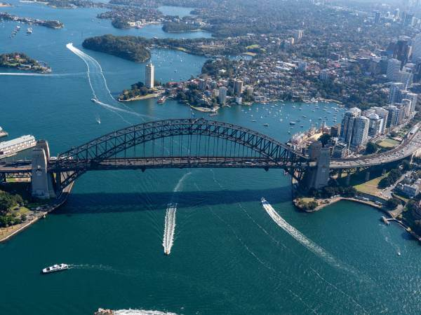aerial view of a bridge with ferries