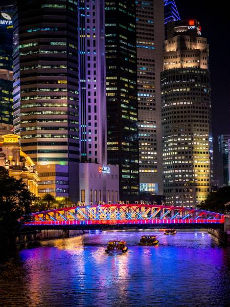 night view of a bridge lit up in a city
